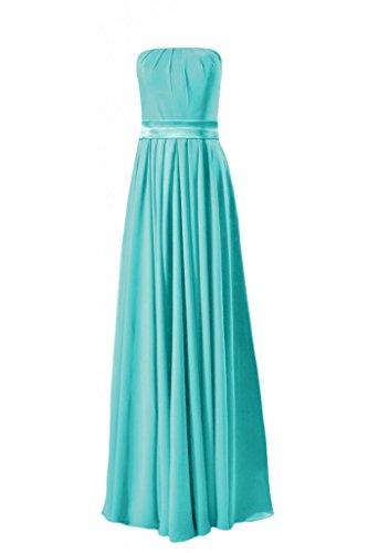 Daisyformals Long Strapless Chiffon Bridesmaid Dress(Bm7893)- Tiffany Blue