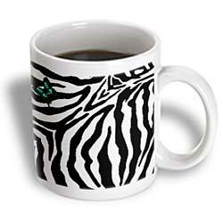 3Drose Butterfly Zebra Print Ceramic Mug, 11-Ounce