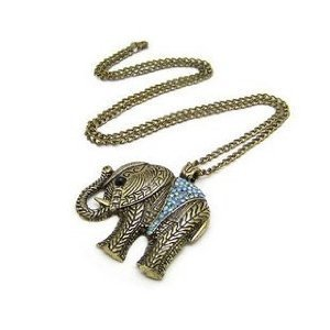 Stone River Jewellery Vintage Bronze Tone Turquoise Blue Crystal Lucky Charm Elephant Necklace Pendant with long chain