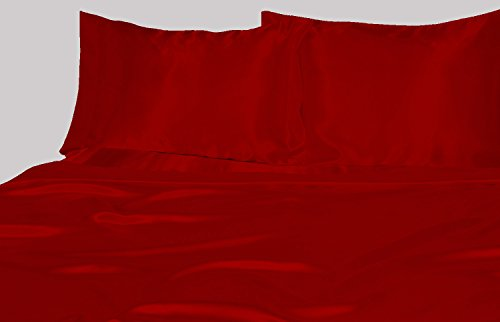Sapphire Linens Satin Silk Duvet Cover ( Queen , Blood Red )
