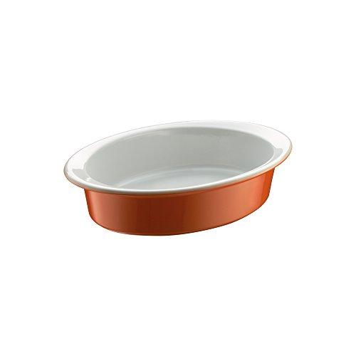 Berndes 054026 plat à gratin ovale en céramique 29 x 20 cm (orange/blanc)