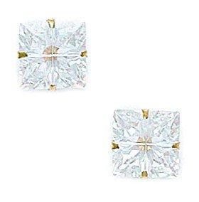 14k Yellow Gold 8x8mm 4 Segment Square CZ Light Prong Set Earrings - JewelryWeb