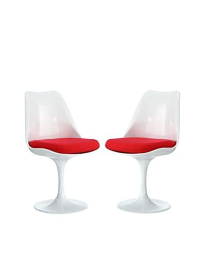 Modway Set of 2 Lippa Dining Side Chairs, Red