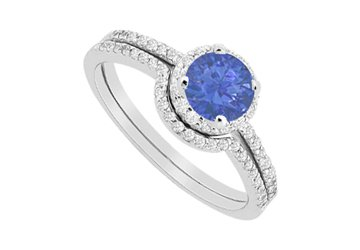 Sapphire Halo Engagement Ring and Diamonds Wedding Band Sets 1.15 Carat in 14K White Gold
