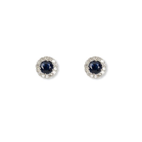 9ct White Gold Diamond and Sapphire Stud Earrings