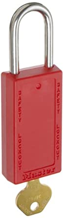 "Master Lock 411 Series Zenex Lockout/Tagout Padlock, Keyed Different, 3"" Body Length, 1-1/2"" Shackle Clearance"