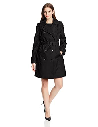 London Fog Women's Double Breasted Classic Trench Coat, Black, Small