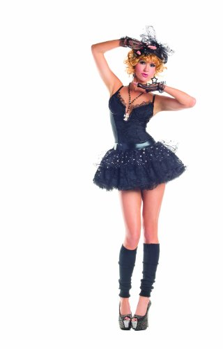 Party King Material Pop Star Women's 4 Piece Costume Dress Set, Black, Large