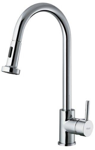 Vigo Industries VG02002CH PullOut Single Lever Kitchen Faucet, Chrome