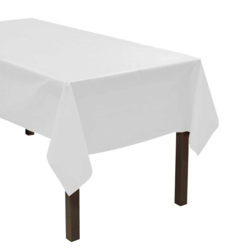 "Party Essentials ValuMost Plastic Table Cover, 54 x 108"", White"
