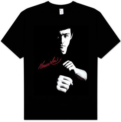 Bruce Lee THE DRAGON AWAITS Adult Black Kung Fu T-shirt