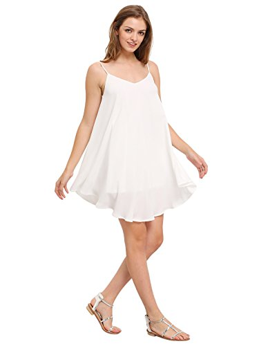 ROMWE Women's Summer Spaghetti Strap Sundress Sleeveless Beach Slip Dress White XS