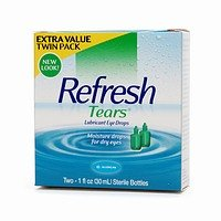 Refresh Tears Lubricant Eye Drops Long Lasting Relief - Twin Pack 2x 1.08 oz (32 ml Each)