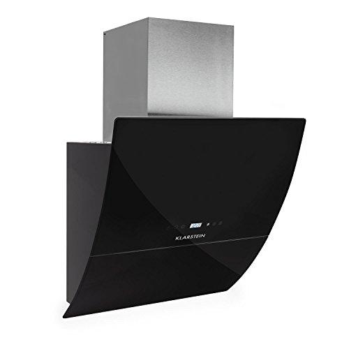 Klarstein-RGL60BL-Dunstabzugshaube-Abzugshaube-Wandhaube-kopffrei-60cm-550mh-Abluftleistung-3-Leistungsstufen-LED-Touch-Armatur-Glas-Front-Fernbedienung-schwarz