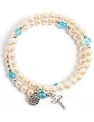 Pearl Effect Bracelet. Wraparound Bracelet. Girl's Bracelet. Communion Gift.