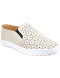 Tapps Women Casual Sneaker (37, Creme)