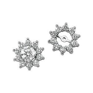 14k White Gold Rough Diamond Earring Jacket 3/4ct - JewelryWeb