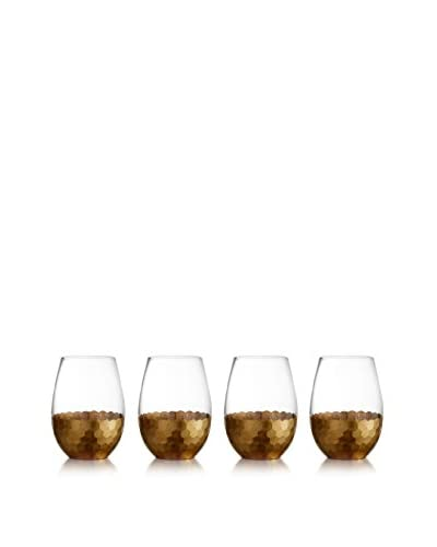 Jay Imports Set of 4 Daphne Gold Stemless Wine Glasses, Clear/Gold, 20-Oz.