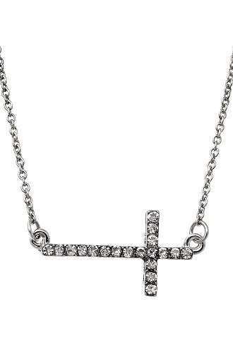 alexa-starr-k295-n-silvertone-rhinestone-sideways-cross-necklace
