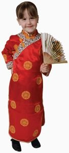 Pretend Deluxe Chinese Geisha Girl Child Costume Dress-Up Set Size 4-6