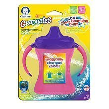 Gerber Graduates Fun Grips Color Change Soft Spout 2 Handle Cup 7oz 1pk - Purple