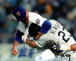 Nolan Ryan Autographed Fight vs Ventura Texas Rangers 8x10 Photo by DenverAutographs