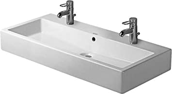 Duravit 04541000261 Washbasin 39 3/8 Vero White With Overflow 2 Tap Holes Ground