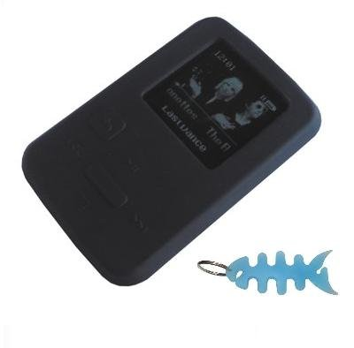 HappyZone - Silicone Skin Case-Black and Fishbone Style Keychain for SanDisk Sansa Clip Zip-4 GB / 8GB MP3 Player рюкзак case logic 17 3 prevailer black prev217blk mid