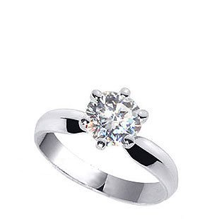 czRound-6 Brilliant Cut Clear Cubic Zirconia Solitaire 3mm Band Sterling Silver Ring Size 6