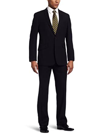 Kenneth Cole Reaction Men's 2 Piece Two Button Suit, Navy, 44 Large