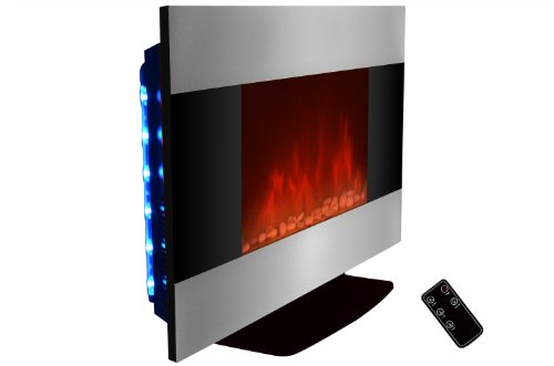 AKDY 36 inch Wall Mount Stainless Panel Electric Fireplace Space Heater With Pebbles/Remote And Floorstand AX510S-DPB