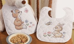 Bucilla Baby Our Little Blessing Quilted Bib Pair Stamped Cross Stitch Kit, 9-Inch By 14-Inch, Set Of 2 Bibs front-900795