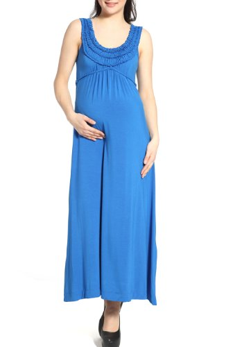 "Momo Maternity ""Cora"" Ruffle Top Maxi Dress – Empire Blue L"