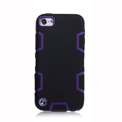 Meaci® Iphone 5C Case 3In1 Combo Hybrid Defender High Impact Body Armorbox Hard Pc&Silicone Case (Black&Purple)