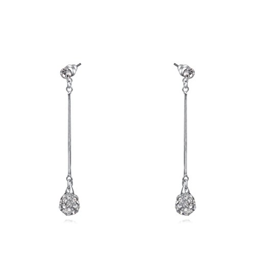 White Gold Set Austrian Crystals ball Shape Drop Earrings