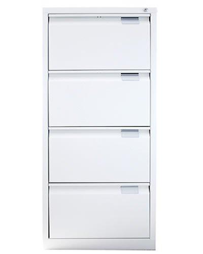 Archivadores metalicos con llave de 4 cajones ,Montado diseñado para armario archivador de carpetas para oficinas , color Blanco