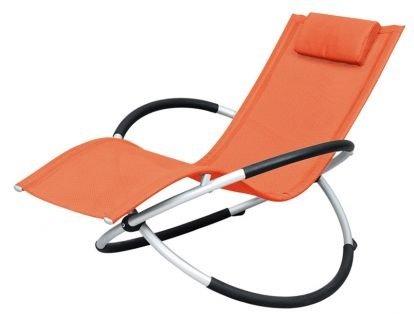 リクライニングチェア!アウトドア!椅子 折りたたみ幅約25cm!憧れのロッキング チェアー バーベキュー ベランダ海 プール に! オレンジ