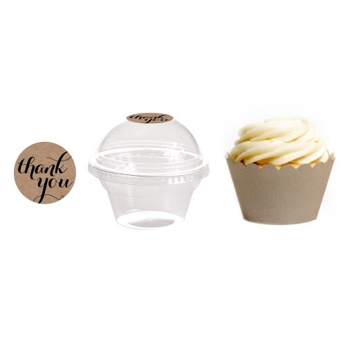 Dress My Cupcake 24-Pack Kraft Dessert Table Label Kit, Includes Favor Dome Containers, Thank You! Label And Kraft Brown Wrapper front-13117