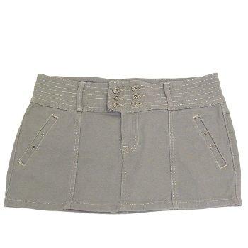 Ladies Girls Grey Denim Bodycon Straight Cut Womens Mini Short Skirt