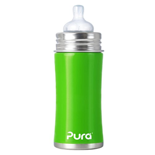 Pura Kiki Stainless Infant Bottle Stainless Steel with Natural Vent Nipple, 11 Ounce, Spring Green, 3 Months+