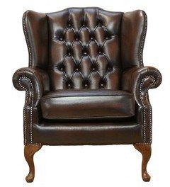 Chesterfield Mallory plano Wing Queen Anne Respaldo Alto Sillón fabricado en Reino Unido envejecido, color marrón