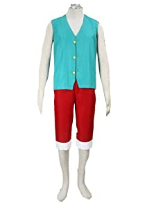 One Piece Anime Monkey D Luffy Green Cosplay Costume Suit 3rd Version in Size S