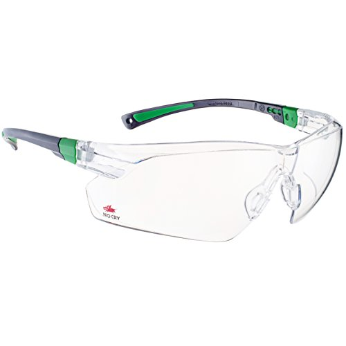 NoCry Safety Glasses with Clear Anti-Fog and Anti-Scratch Wrap-Around Lens and No-Slip Grips, UV400 Protection. Black & Green Frames (Cool Safety Glasses Z87 compare prices)