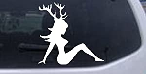 Sexy Chic Mud Flap Woman with Deer Horns Hunting And Fishing Car Window Wall Laptop Decal Sticker -- White 3in X 3.1in