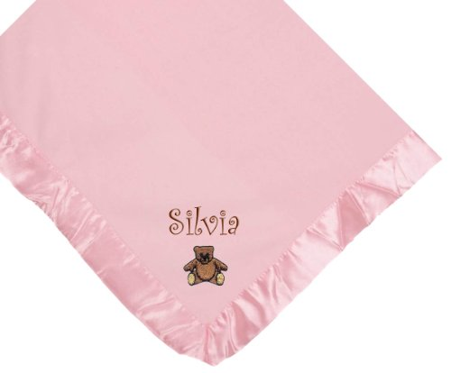 Teddy Bear Pink Soft Fleece Embroidered Personalized Baby Blanket - Custom Embroidery Hot Pink Thread front-1044510
