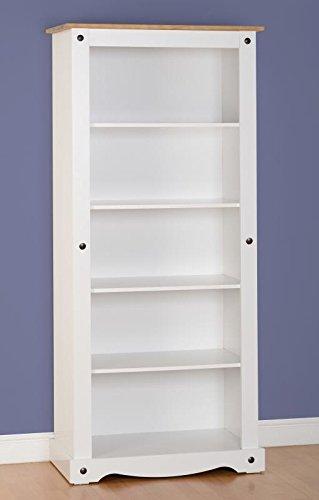 Libreria alta corona in bianco/legno di pino invecchiato e cerato