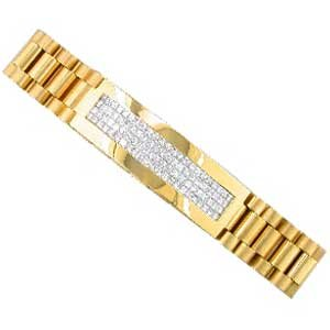 14Kt Yellow Gold Buttery Men's Diamond Bracelet