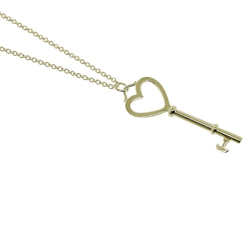 Sterling Silver Heart Key Pendant w/ 16