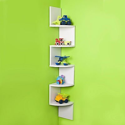Stackable 5 Tier Oak Zig Zag Corner Wall Shelves - White