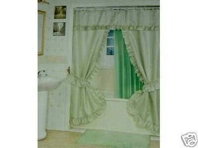 DOUBLE SWAG SHOWER CURTAIN, LINER & RINGS , SAGE GREEN - Double Swag Shower Curtains Shower Curtains Outlet
